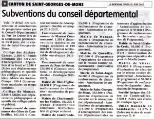 SUBVENTIONS DU CONSEIL DEPARTEMENTAL CANTON SAINT-GEORGES-DE-MONS 14.06.2015